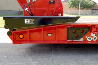 Optional vertical gussets and side member flange reinforcing on front slope.  Severe-duty swinging removable side brackets.