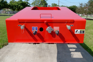 Toolbox with lockable steel cover on top of gooseneck.