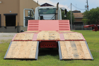 Ramps are extra-wide at 38-inches for the easy loading of various machines.  The oak-covered beavertail has a 7-degree load angle to the platform deck.