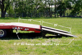 Air powered ramps are 84 inches long and are oak-covered.   They feature a 15 degree incline for save and easy loading of machinery.   Twelve inch aluminum extension is available to extend ramp length to 96 inches.